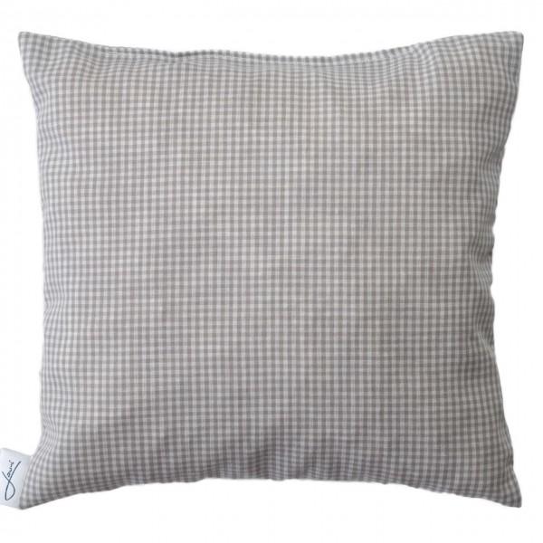 Zirbenkissen bio Baumwolle weiß-grau