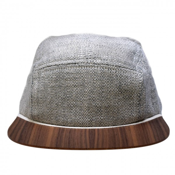 Leinen Cap grau-weiß