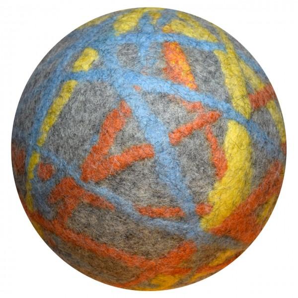 Filzball grau-gelb-hellblau-orange